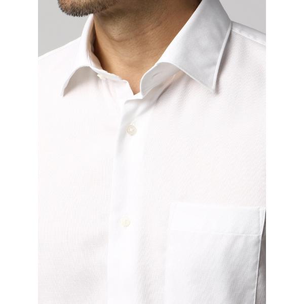 ドレスシャツ/長袖/メンズ/半袖・ICE COTTON/ワイドカラードレスシャツ 織柄 ホワイト uktsc 05