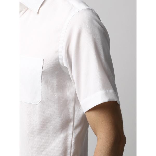 ドレスシャツ/長袖/メンズ/半袖・ICE COTTON/ワイドカラードレスシャツ 織柄 ホワイト uktsc 06