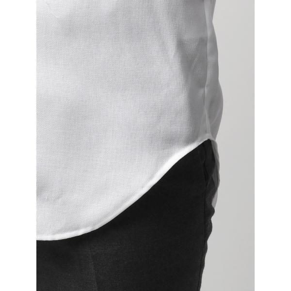 ドレスシャツ/長袖/メンズ/半袖・ICE COTTON/ワイドカラードレスシャツ 織柄 ホワイト uktsc 07