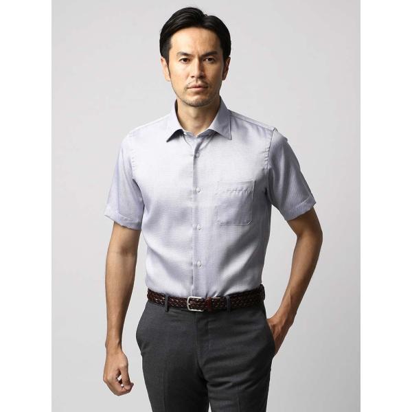 ドレスシャツ/長袖/メンズ/半袖・ICE COTTON/ワイドカラードレスシャツ 織柄 ネイビー×ホワイト uktsc