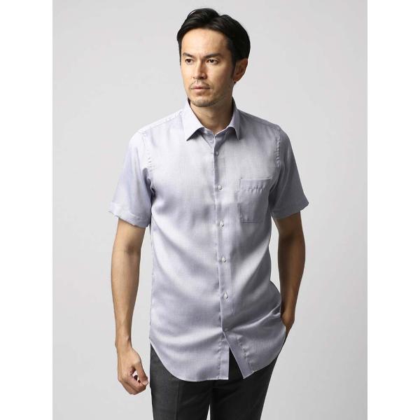 ドレスシャツ/長袖/メンズ/半袖・ICE COTTON/ワイドカラードレスシャツ 織柄 ネイビー×ホワイト uktsc 02