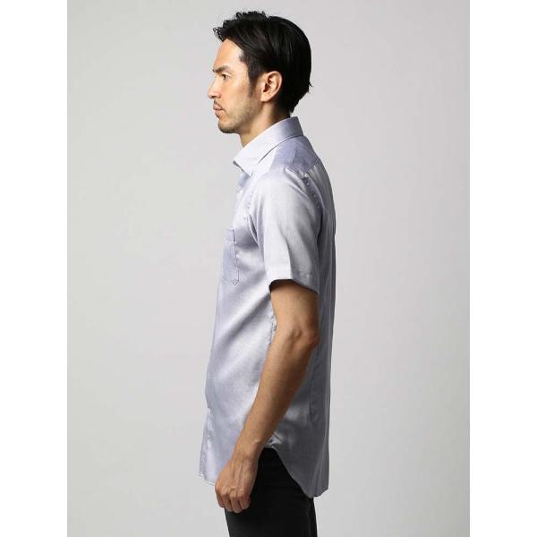 ドレスシャツ/長袖/メンズ/半袖・ICE COTTON/ワイドカラードレスシャツ 織柄 ネイビー×ホワイト uktsc 03
