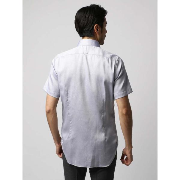 ドレスシャツ/長袖/メンズ/半袖・ICE COTTON/ワイドカラードレスシャツ 織柄 ネイビー×ホワイト uktsc 04