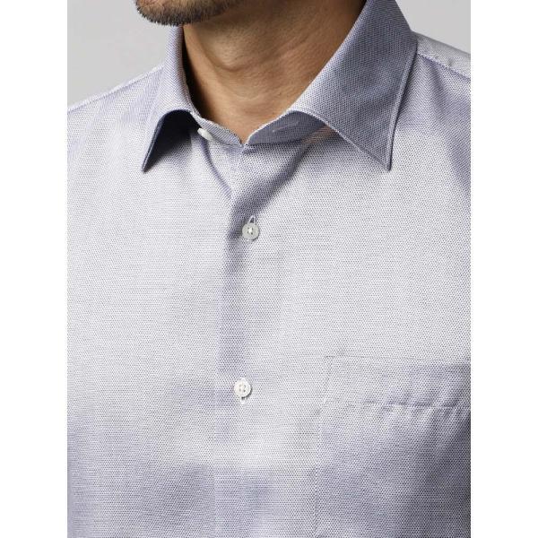 ドレスシャツ/長袖/メンズ/半袖・ICE COTTON/ワイドカラードレスシャツ 織柄 ネイビー×ホワイト uktsc 05