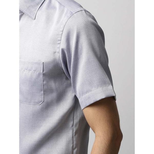 ドレスシャツ/長袖/メンズ/半袖・ICE COTTON/ワイドカラードレスシャツ 織柄 ネイビー×ホワイト uktsc 06