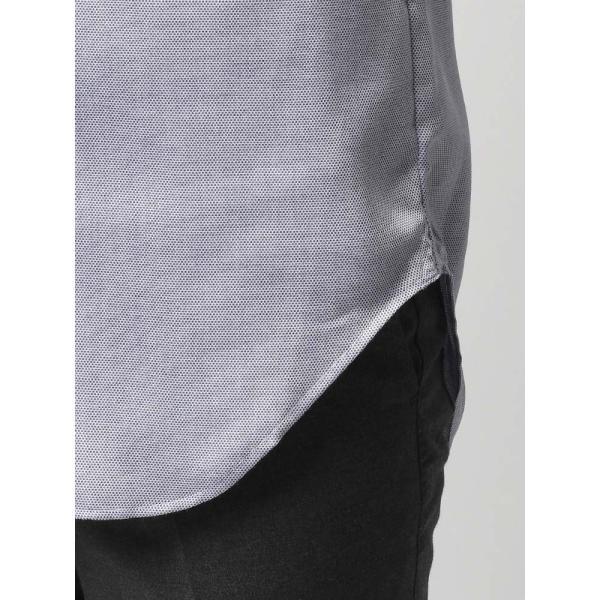 ドレスシャツ/長袖/メンズ/半袖・ICE COTTON/ワイドカラードレスシャツ 織柄 ネイビー×ホワイト uktsc 07