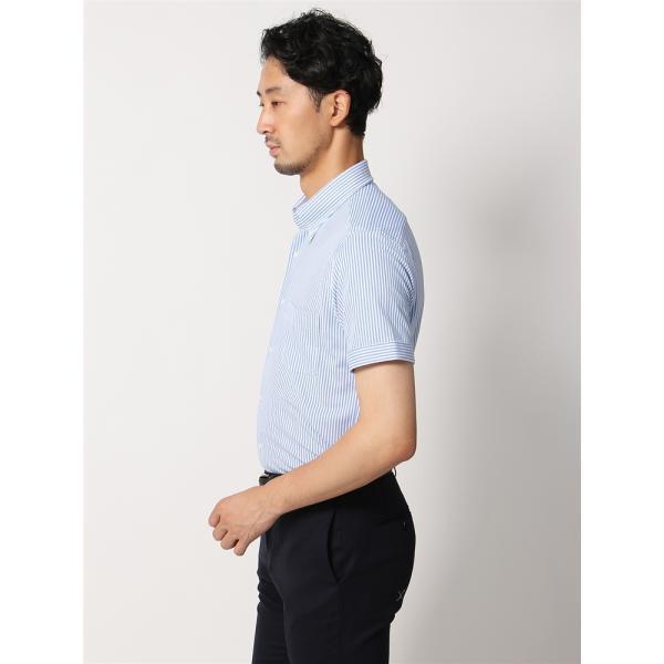 ドレスシャツ/半袖/メンズ/半袖・ノンアイロンジャージー素材/WE SUIT YOU/ボタンダウンカラードレスシャツ ブルー×ホワイト|uktsc|02