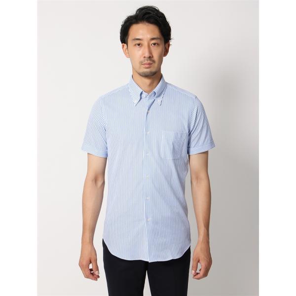 ドレスシャツ/半袖/メンズ/半袖・ノンアイロンジャージー素材/WE SUIT YOU/ボタンダウンカラードレスシャツ ブルー×ホワイト|uktsc|04