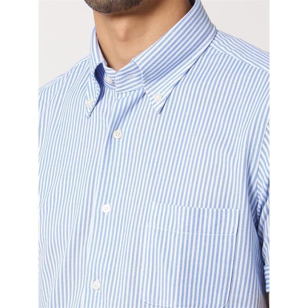ドレスシャツ/半袖/メンズ/半袖・ノンアイロンジャージー素材/WE SUIT YOU/ボタンダウンカラードレスシャツ ブルー×ホワイト|uktsc|05
