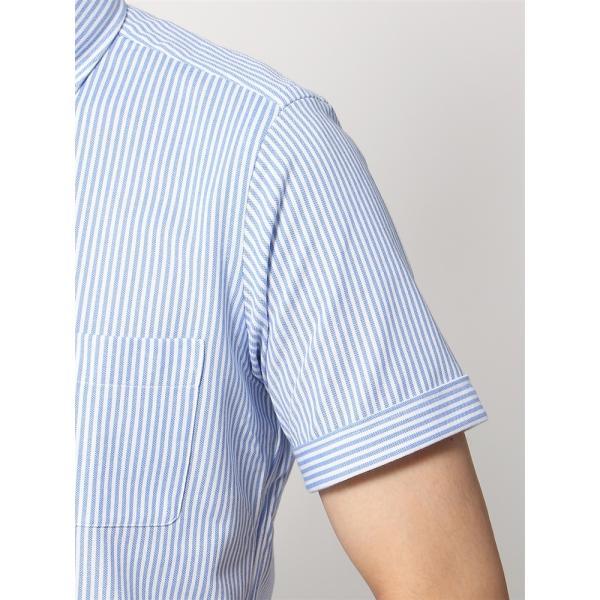 ドレスシャツ/半袖/メンズ/半袖・ノンアイロンジャージー素材/WE SUIT YOU/ボタンダウンカラードレスシャツ ブルー×ホワイト|uktsc|06
