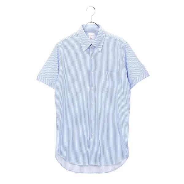 ドレスシャツ/半袖/メンズ/半袖・ノンアイロンジャージー素材/WE SUIT YOU/ボタンダウンカラードレスシャツ ブルー×ホワイト|uktsc|08