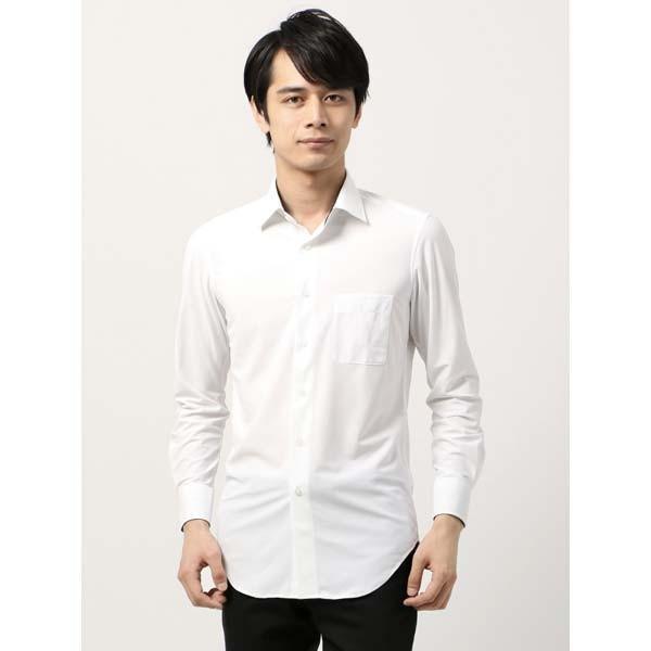 ドレスシャツ/長袖/メンズ/ノンアイロンジャージー素材/WE SUIT YOU/ワイドカラードレスシャツ ホワイト|uktsc|02