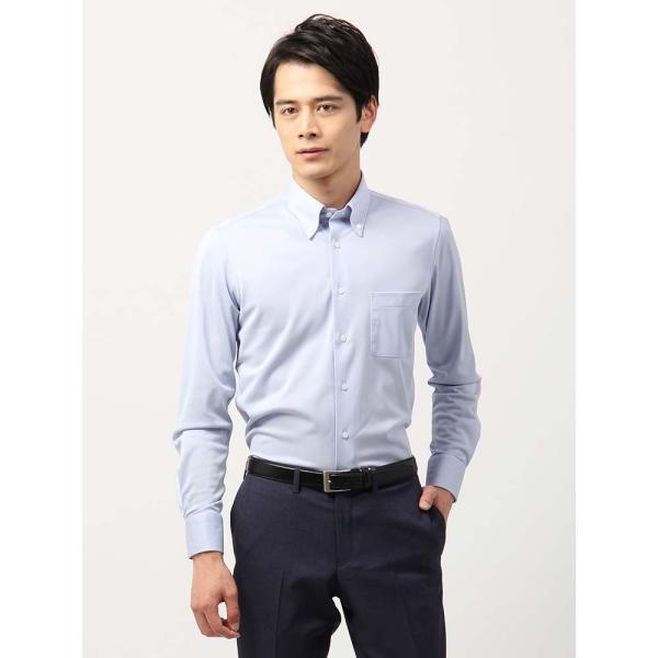 ドレスシャツ/長袖/メンズ/ノンアイロンジャージー素材/WE SUIT YOU/ボタンダウンカラードレスシャツ ブルー uktsc