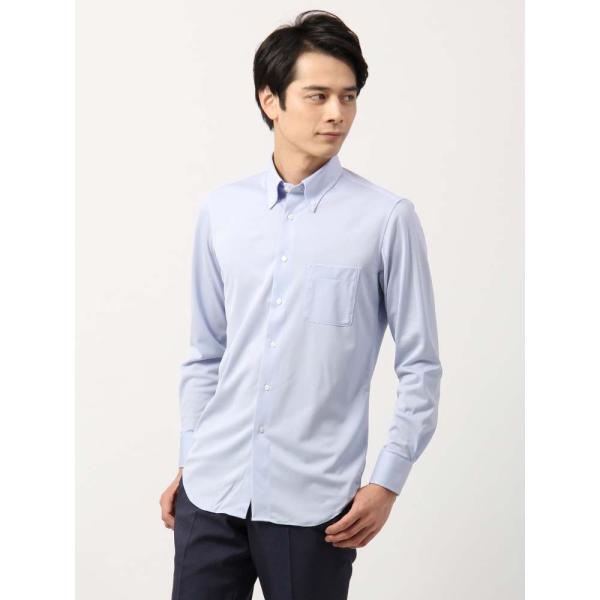 ドレスシャツ/長袖/メンズ/ノンアイロンジャージー素材/WE SUIT YOU/ボタンダウンカラードレスシャツ ブルー uktsc 02