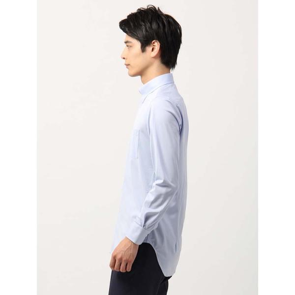 ドレスシャツ/長袖/メンズ/ノンアイロンジャージー素材/WE SUIT YOU/ボタンダウンカラードレスシャツ ブルー uktsc 03