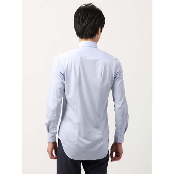 ドレスシャツ/長袖/メンズ/ノンアイロンジャージー素材/WE SUIT YOU/ボタンダウンカラードレスシャツ ブルー uktsc 04