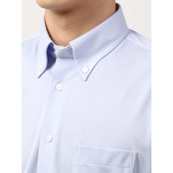 ドレスシャツ/長袖/メンズ/ノンアイロンジャージー素材/WE SUIT YOU/ボタンダウンカラードレスシャツ ブルー uktsc 05
