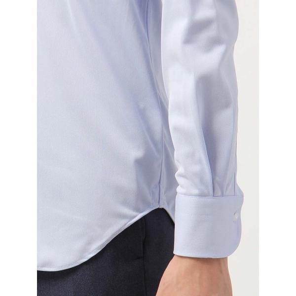 ドレスシャツ/長袖/メンズ/ノンアイロンジャージー素材/WE SUIT YOU/ボタンダウンカラードレスシャツ ブルー uktsc 06