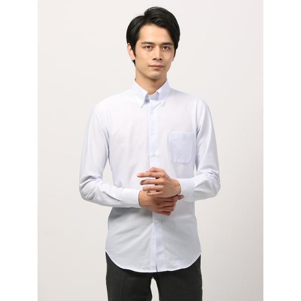 ドレスシャツ/長袖/メンズ/ノンアイロンジャージー素材/WE SUIT YOU/ボタンダウンカラードレスシャツ ホワイト×ブルー uktsc 02