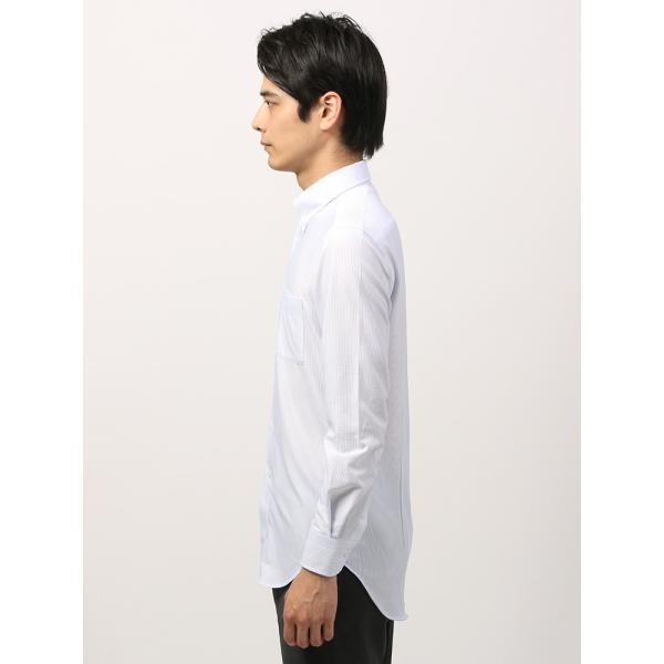 ドレスシャツ/長袖/メンズ/ノンアイロンジャージー素材/WE SUIT YOU/ボタンダウンカラードレスシャツ ホワイト×ブルー uktsc 03