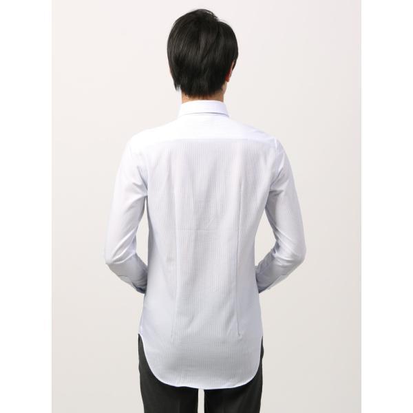 ドレスシャツ/長袖/メンズ/ノンアイロンジャージー素材/WE SUIT YOU/ボタンダウンカラードレスシャツ ホワイト×ブルー uktsc 04