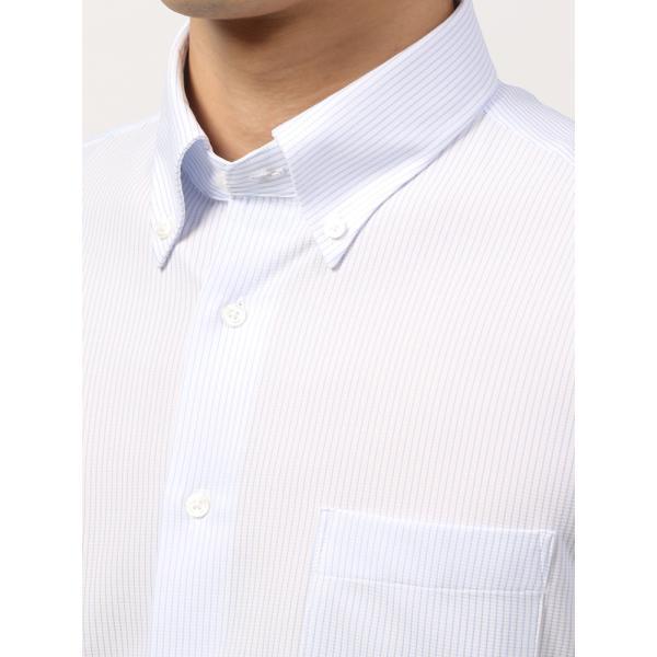 ドレスシャツ/長袖/メンズ/ノンアイロンジャージー素材/WE SUIT YOU/ボタンダウンカラードレスシャツ ホワイト×ブルー uktsc 05