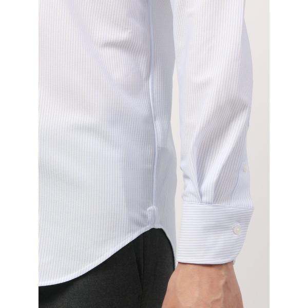 ドレスシャツ/長袖/メンズ/ノンアイロンジャージー素材/WE SUIT YOU/ボタンダウンカラードレスシャツ ホワイト×ブルー uktsc 06