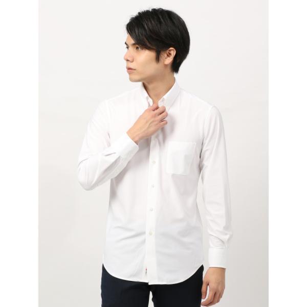 ドレスシャツ/長袖/メンズ/ノンアイロンジャージー素材/WE SUIT YOU/ボタンダウンカラードレスシャツ ホワイト|uktsc|02
