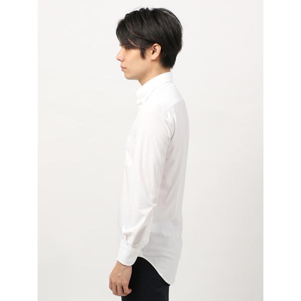 ドレスシャツ/長袖/メンズ/ノンアイロンジャージー素材/WE SUIT YOU/ボタンダウンカラードレスシャツ ホワイト|uktsc|03