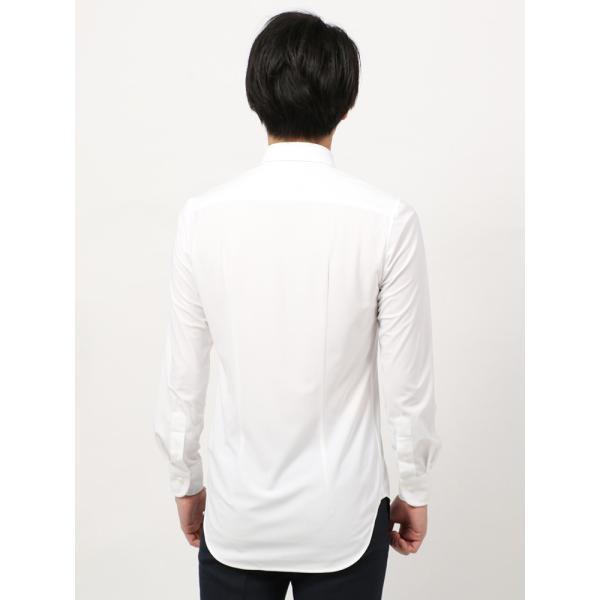 ドレスシャツ/長袖/メンズ/ノンアイロンジャージー素材/WE SUIT YOU/ボタンダウンカラードレスシャツ ホワイト|uktsc|04