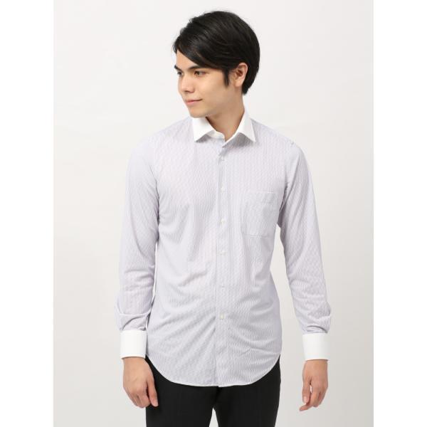 ドレスシャツ/長袖/メンズ/ノンアイロンジャージー素材/WE SUIT YOU/クレリック&ワイドカラードレスシャツ パープル×ホワイト uktsc 02