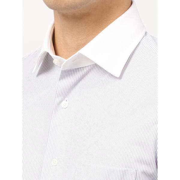 ドレスシャツ/長袖/メンズ/ノンアイロンジャージー素材/WE SUIT YOU/クレリック&ワイドカラードレスシャツ パープル×ホワイト uktsc 05