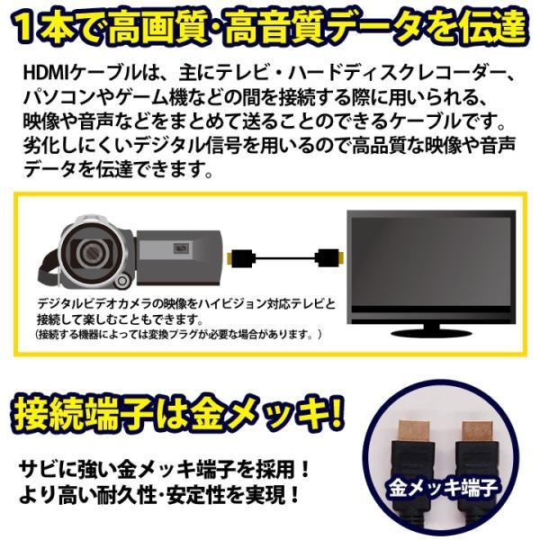 HDMIケーブル 2m HDMIver1.4 金メッキ端子 High Speed HDMI Cable ブラック ハイスピード 4K 3D イーサネット対応 液晶テレビ ブルーレイレコーダー DVDプレーヤ|ulmax|03