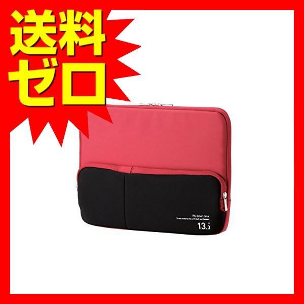 エレコム インナーバッグ ノートパソコンケース 13.3 小物収納ポケット付 レッド 12   12.1   12.5   13   BM-IBPT13RD ポケット付きPCインナーバッグ ELECOM