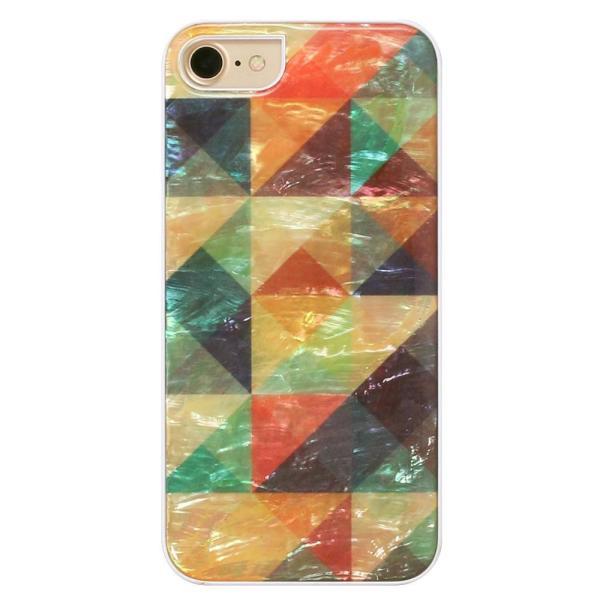 ikins iPhone8/7 天然貝ケース Mosaic ホワイトフレーム|ulmax