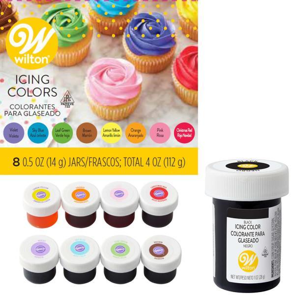 WILTON(ウィルトン)アイシングカラー 8カラーキット+ブラック セット/アイシング デコレーション ケーキデコ クッキー 水溶性 色付け 色素