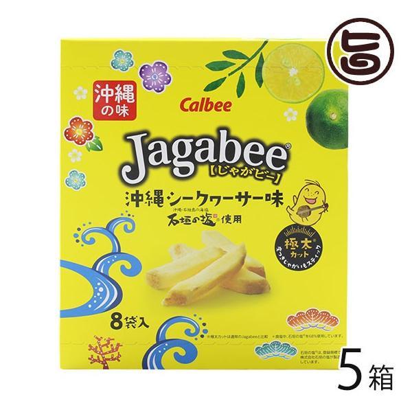 ジャガビー 沖縄シークヮーサー味 18g×8袋入×5箱 カルビー 沖縄 人気 土産 菓子 石垣の塩使用 個包装 ばらまき土産に 送料無料