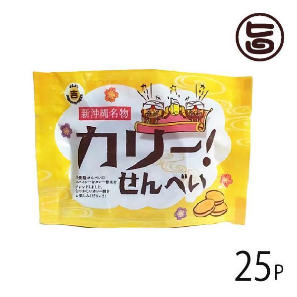 カリーせんべい 4枚入×25P 丸吉塩せんべい 沖縄 人気 土産 菓子 おやつ つまみ カレーせんべい 送料無料