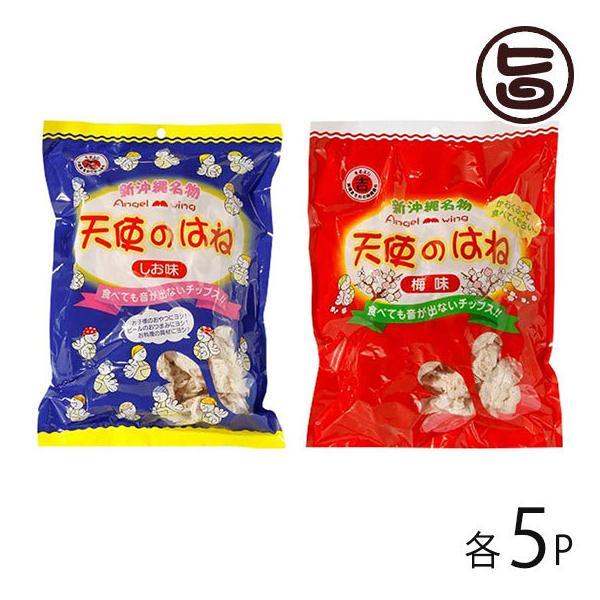 天使のはね 塩味 梅味 30g×各5袋 丸吉塩せんべい 沖縄 土産 菓子 音がでないチップス 送料無料