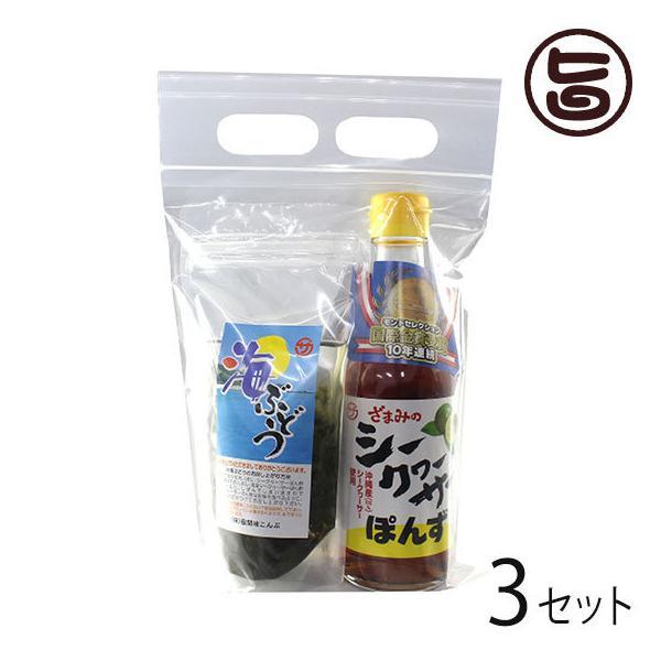 塩水海ぶどう35g ぽんず250ml×3セット 座間味こんぶ 沖縄 人気 土産 お取り寄せ 海藻 調味料 詰め合わせ 送料無料