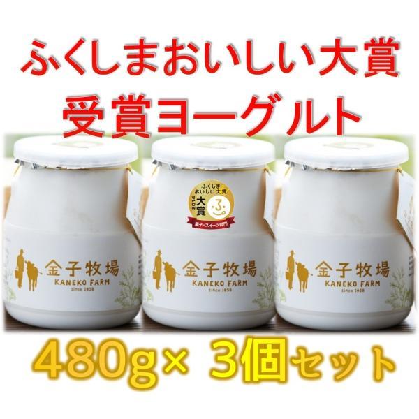 【クール便】金子牧場 食べると幸せゴールデンヨーグルト 大(480g)×3個セット|umaimonoaizu