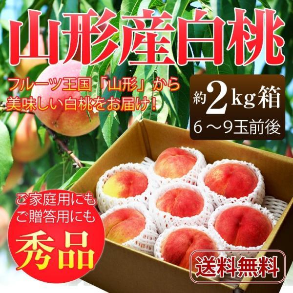 桃 白桃 山形県産白桃約2kg(6〜9玉前後)ご家庭用 送料無料 もも 白桃 モモ