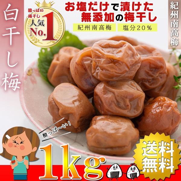 梅干し 無添加 訳あり 白干し梅 つぶれ梅 1kg 塩分20% 塩だけ 酸っぱい梅干し 白梅干