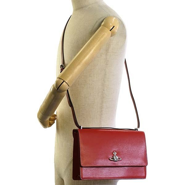 VIVIENNE WESTWOOD MATILDA ショルダーバッグ レッド 赤 41020002 LARGE BAG WITH FLAP H401 RED 40525 100%CALF LEATHER ヴィヴィアン・ウェストウッド