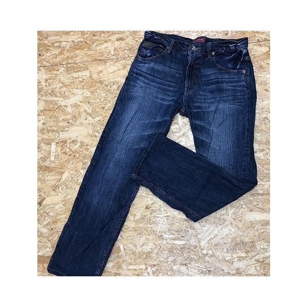 しまむら サイズ79 メンズ デニム パンツ ジーンズ USED加工 シンチバック ロング 綿100% ライトネイビー 薄紺