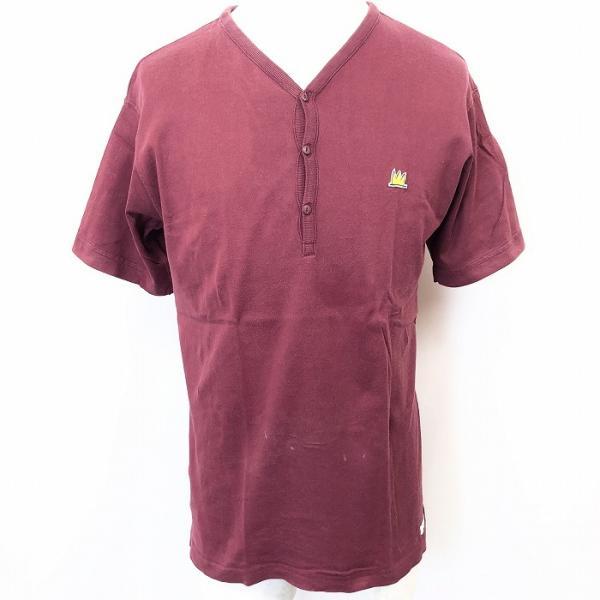 JEAN-MICHEL BASQUIAT ジャン=ミシェル・バスキア M メンズ Tシャツ カットソー Vフロント 半袖 ネコ目ボタン ヘンリーネック えんじ色