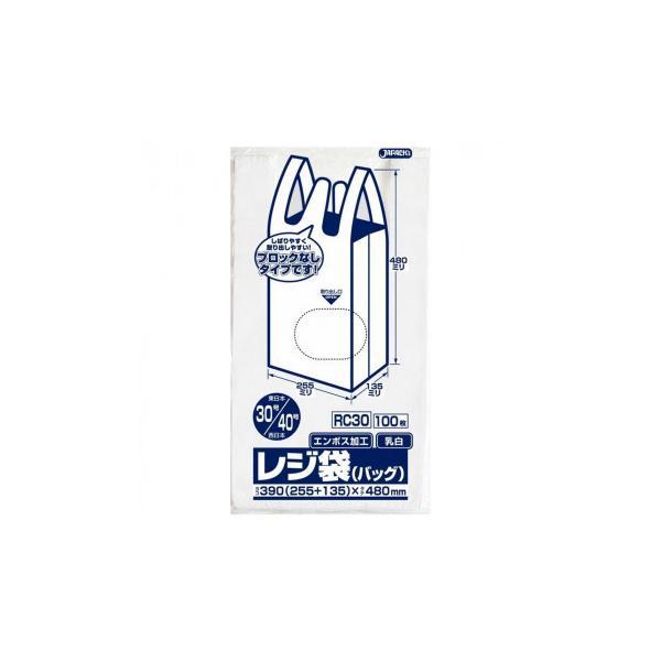 ジャパックス レジ袋ノンブロックベロ付き 関東30号/関西40号 乳白 100枚×10冊×3箱 RC30