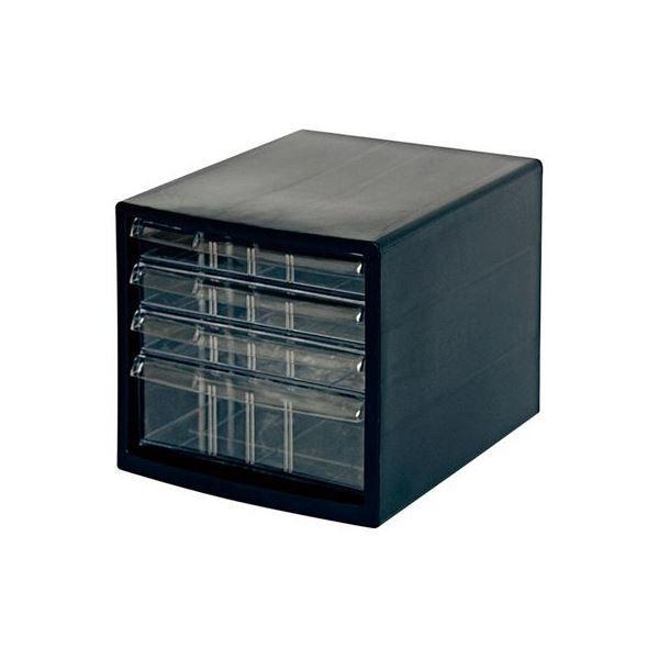 (業務用セット) A4レターケース4段(浅3+深1) ブラック A4E-S4B〔×2セット〕