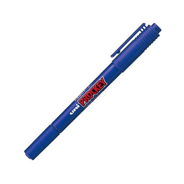 (まとめ) 三菱鉛筆 水性マーカー プロッキー 細字丸芯+極細 青 PM120T.33 1本 〔×50セット〕〔沖縄離島発送不可〕