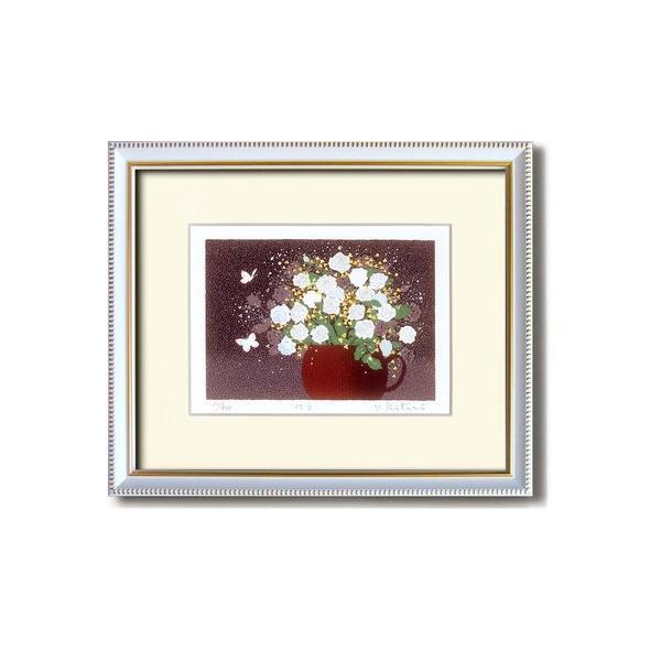 『花』風水額/シルク版画 〔吉岡浩太郎 白い花〕 吊りひも付き 日本製〔沖縄離島発送不可〕